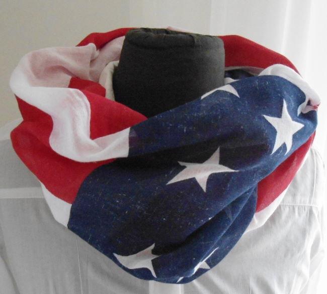 SCHAL / TUCH USA AMERKIA FLAGGE STERNE STARS STRIPES WEISS