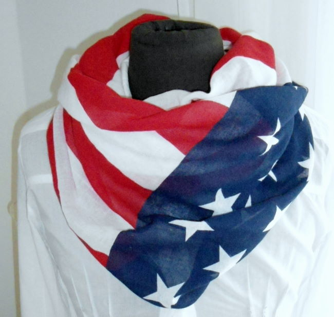 SCHAL / TUCH USA AMERKIA FLAGGE STERNE STARS STRIPES WEISS